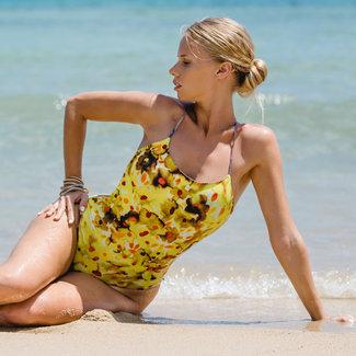 Swim suit reversible  -  print lemon flowers & sea fishes