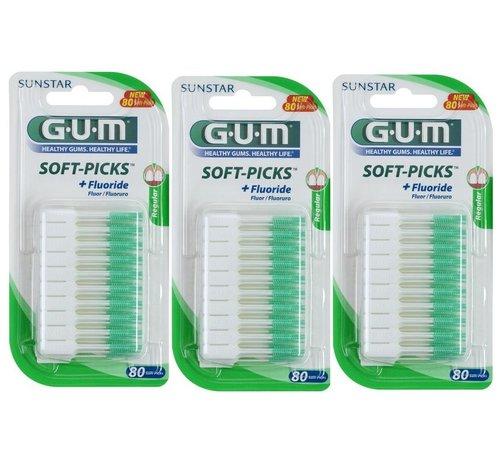 GUM Gum Soft Picks Regular - 3 X 80 Stuks - Ragers - Voordeelverpakking