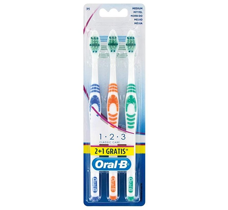 Oral-B 123 Classic Care Medium Tandenborstel - 3 Stuks