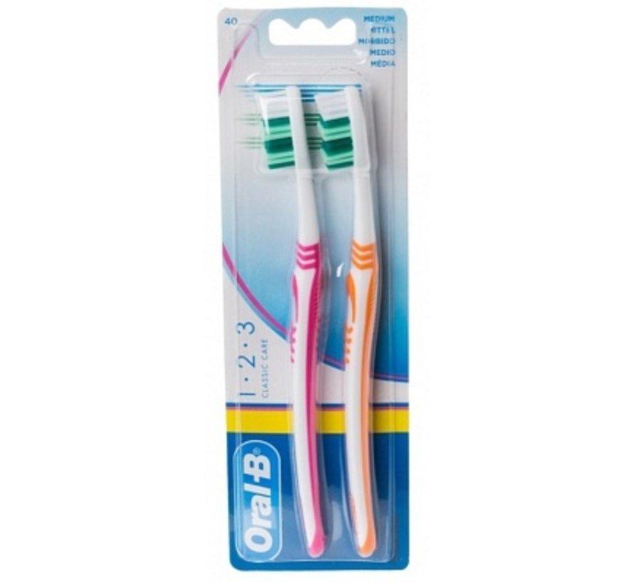 Oral-B 123 Classic Care Medium Tandenborstel - 2 Stuks
