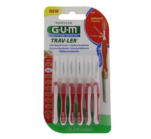 GUM Gum Travler Ragers - 0.8mm Rood