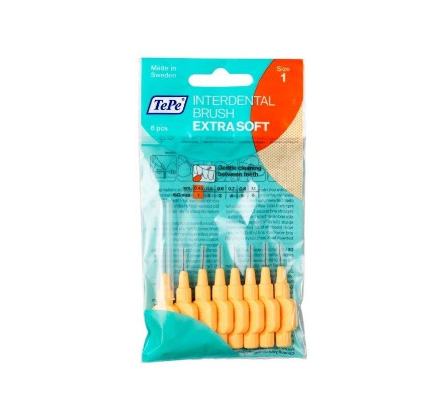 Tepe Tandenragers Extra Soft 0.45 mm Lichtoranje - 8 stuks