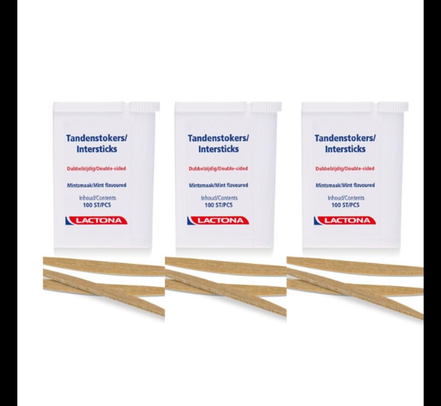 Lactona Intersticks - 3x 100 Stuks - Tandenstoker - Voordeelverpakking