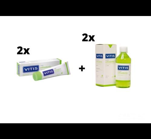 Vitis 2x Vitis Orthodontic Mondspoelmiddel + 2x Vitis Orthodontic Tandpasta - Voordeelpakket