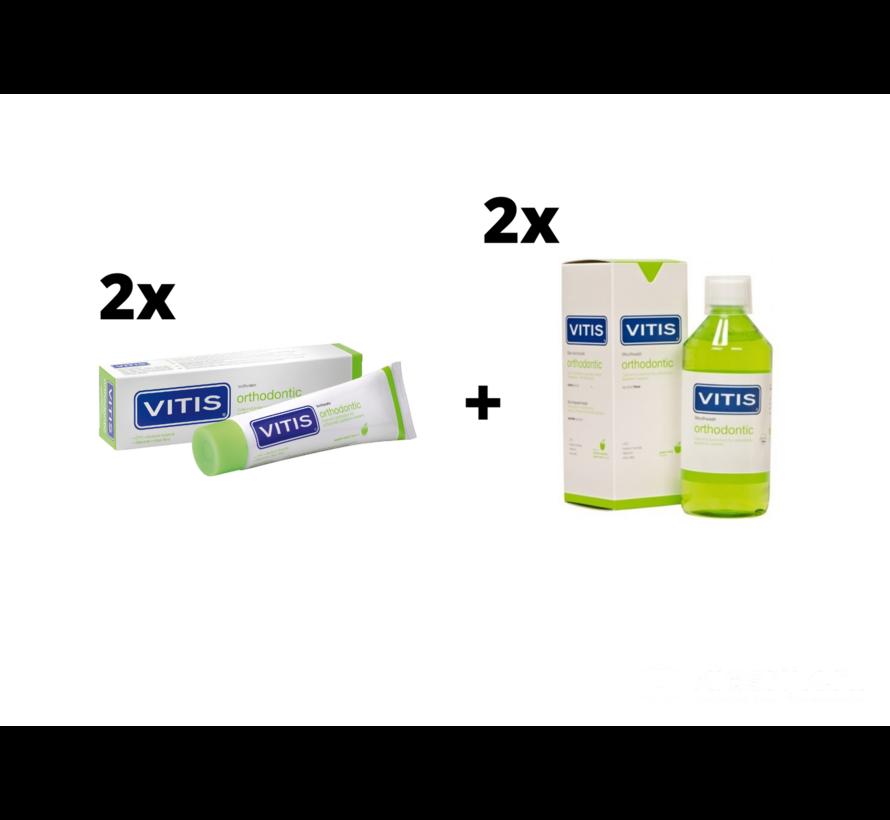 2x Vitis Orthodontic Mondspoelmiddel + 2x Vitis Orthodontic Tandpasta - Voordeelpakket