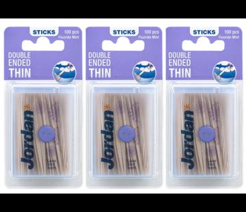 Jordan Jordan Tandenstoker Dun - 3x 100 Stuks - Voordeelverpakking