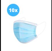 Mondkapjes met elastiek - Blauw - 3 Laags - 10 stuks
