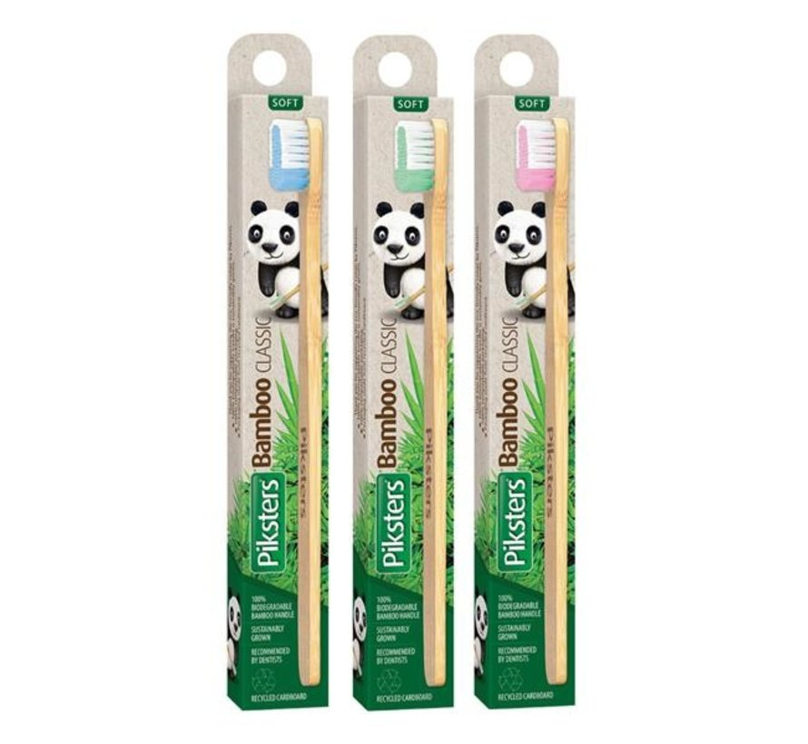 3x Piksters Bamboo Classic Tandenborstel - Zacht