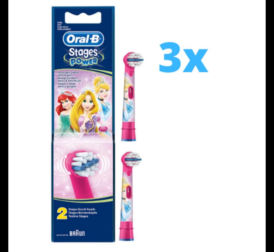 3x Oral-B Stages Power Kids Opzetborstels Princess - 2 stuks