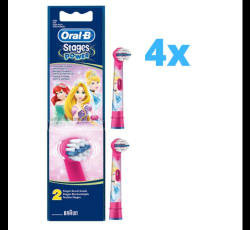 Oral-B 4x Oral-B Stages Power Kids Opzetborstels Princess - 2 stuks