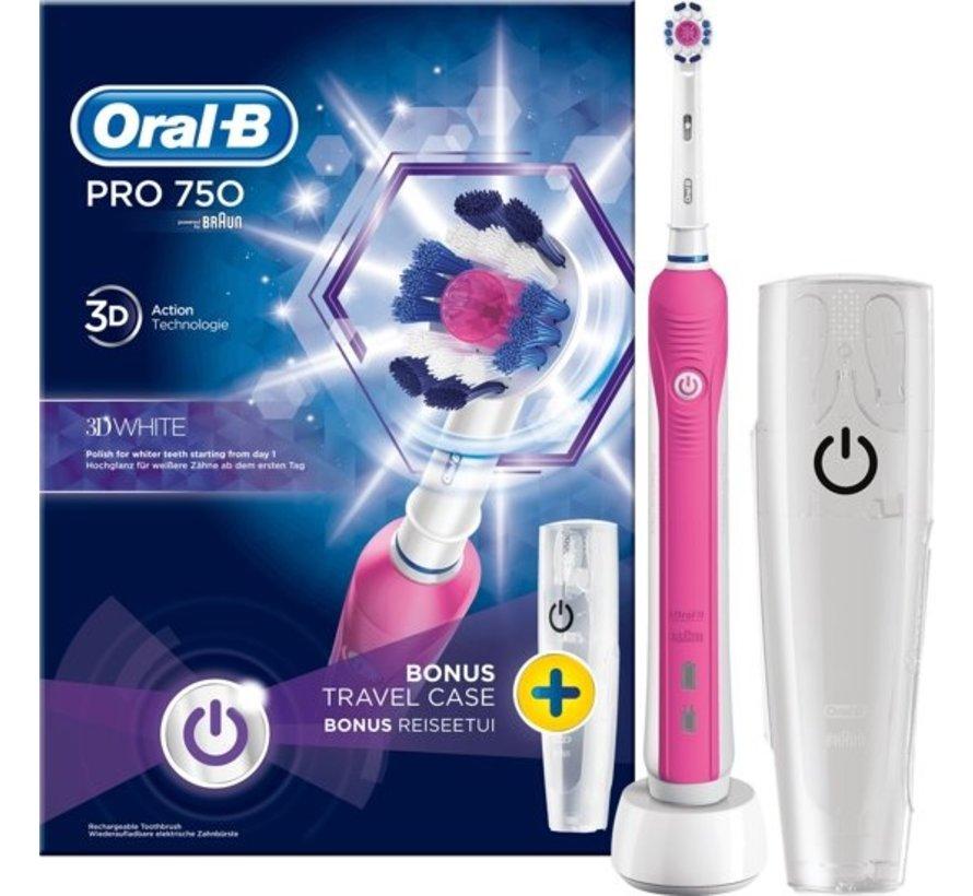 Oral-B PRO 750 3D White + Reisetui + 4 Extra 3D White opzetborstels