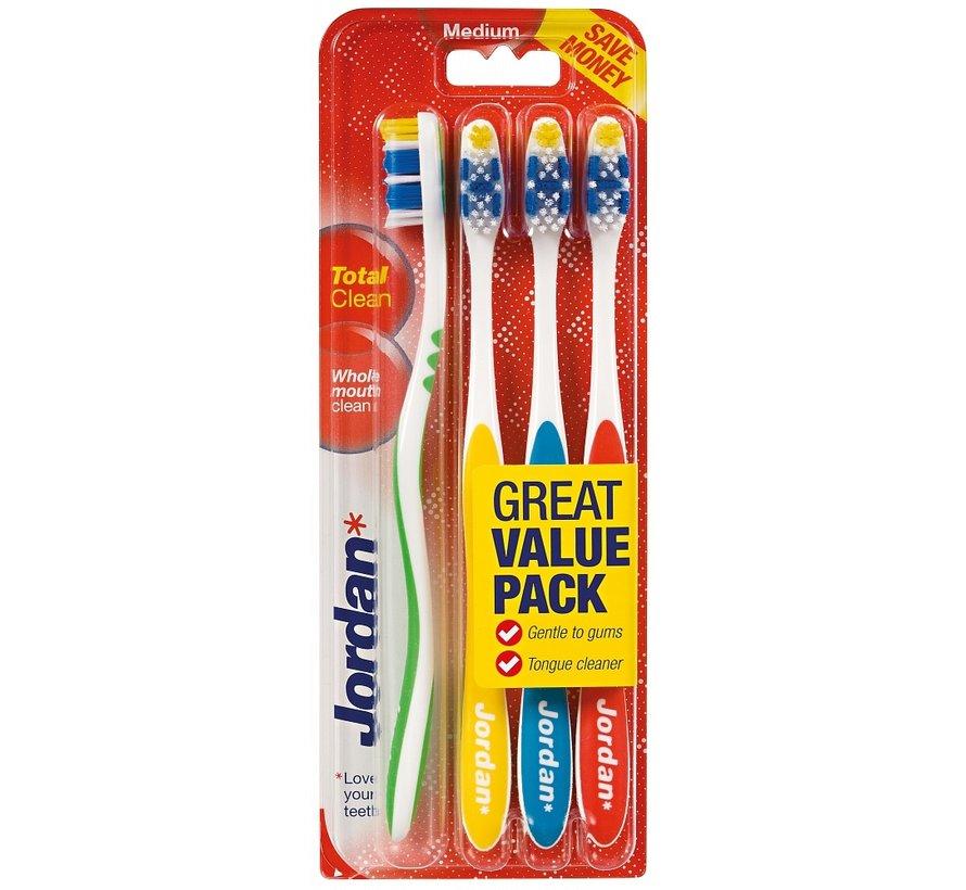 Jordan Total Clean Medium Tandenborstel - 4 stuks