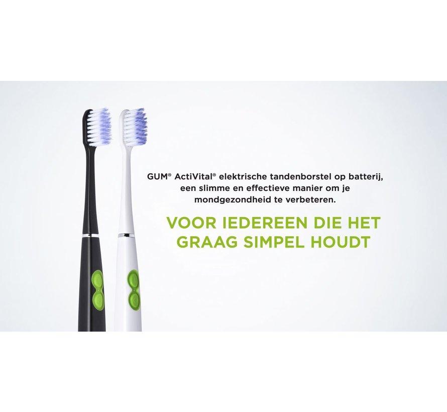 1x GUM Activital Sonic Elektrische Tandenborstel - Zwart + 1x GUM Opzetborstels Zwart