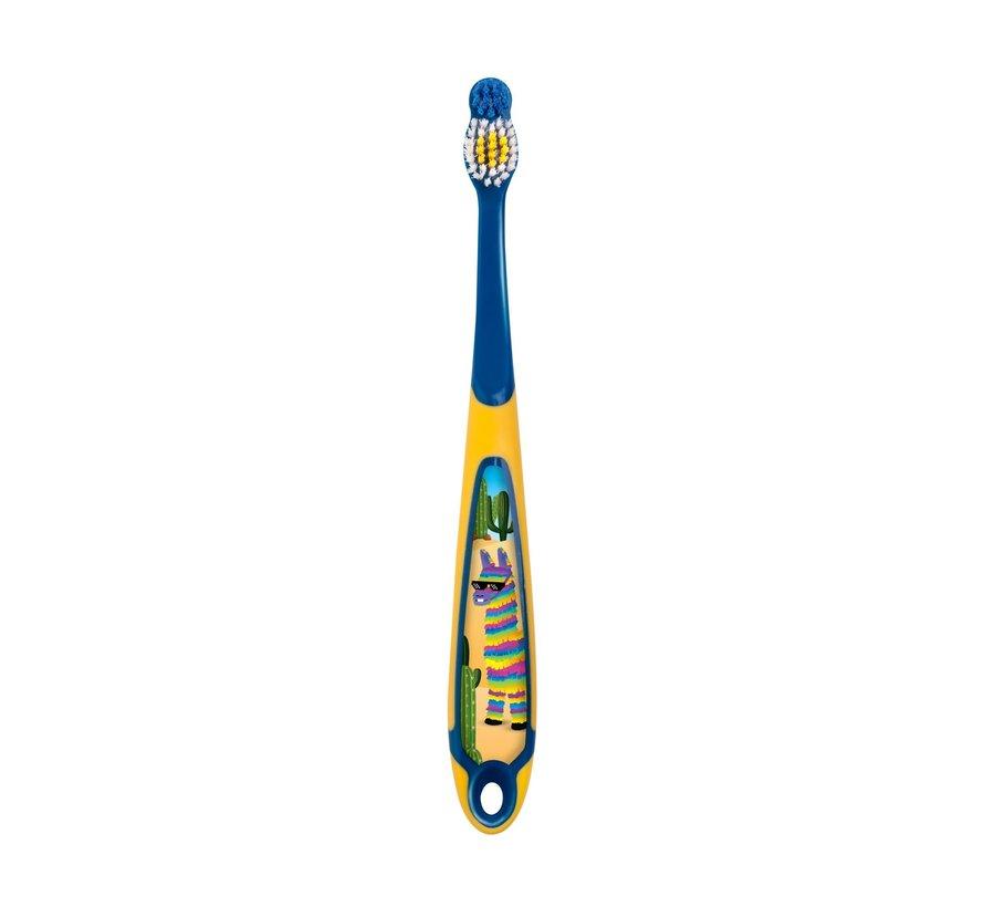 3x Jordan Tandenborstel Step by Step - 6- 9 jaar - Kindertandenborstel - Kleur Geel/Grijs - Voordeelverpakking