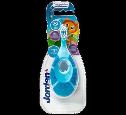 Jordan Jordan Step By Step 1  - 4x Tandenborstel (0-2 jaar) Kleur Blauw/Groen met 2x Jordan Tandpasta 0-5 jaar
