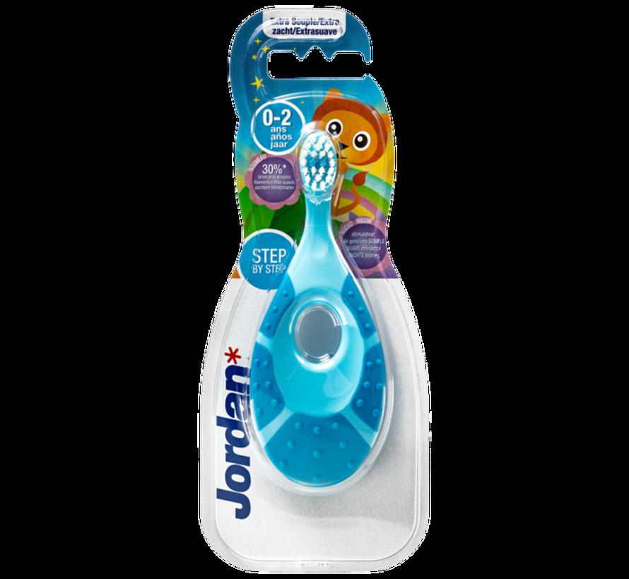 Jordan Step By Step 1  - 4x Tandenborstel (0-2 jaar) Kleur Blauw/Groen met 2x Jordan Tandpasta 0-5 jaar