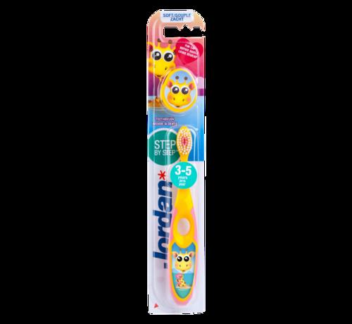 Jordan Jordan Step By Step 2  - 4x Tandenborstel (3-5 jaar) Kleur Roze/Geel met 2x Jordan Tandpasta 0-5 jaar