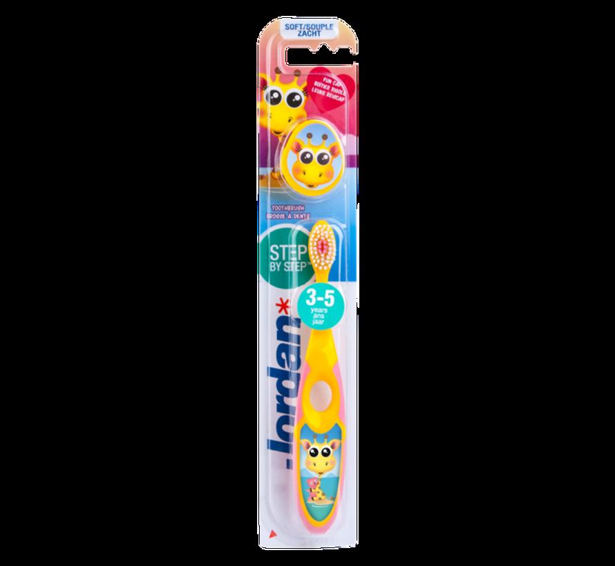 Jordan Step By Step 2  - 4x Tandenborstel (3-5 jaar) Kleur Roze/Geel met 2x Jordan Tandpasta 0-5 jaar