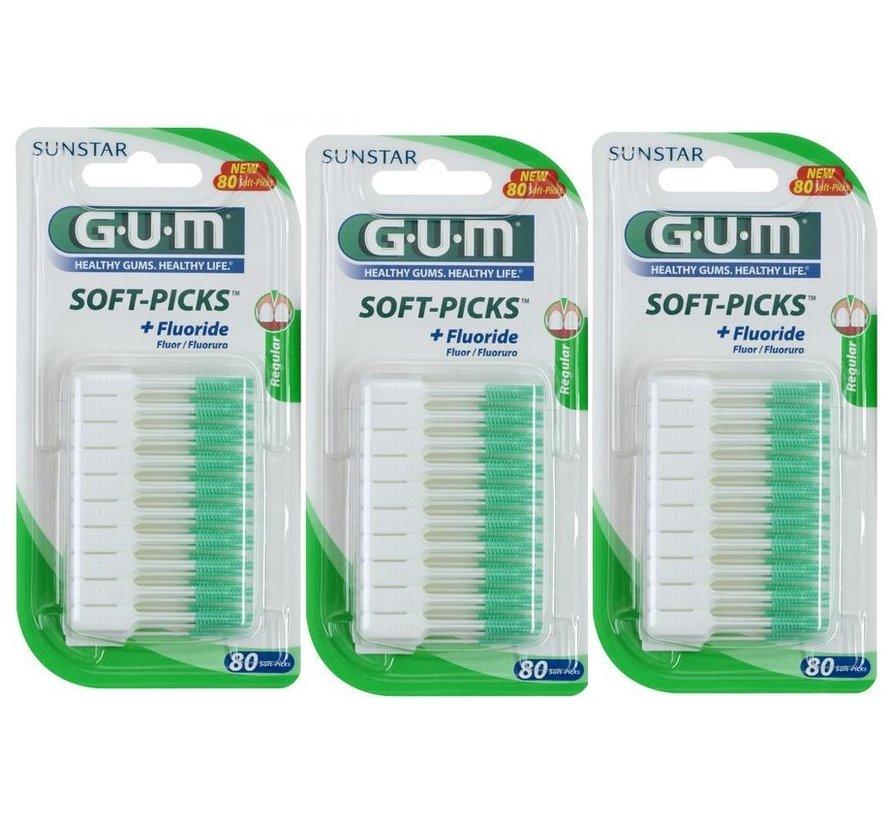 3x GUM Soft-Picks Original Regular 80 stuks