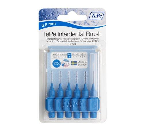 TePe 6x TePe Ragers 0,6 mm Blauw blister à 6 stuks