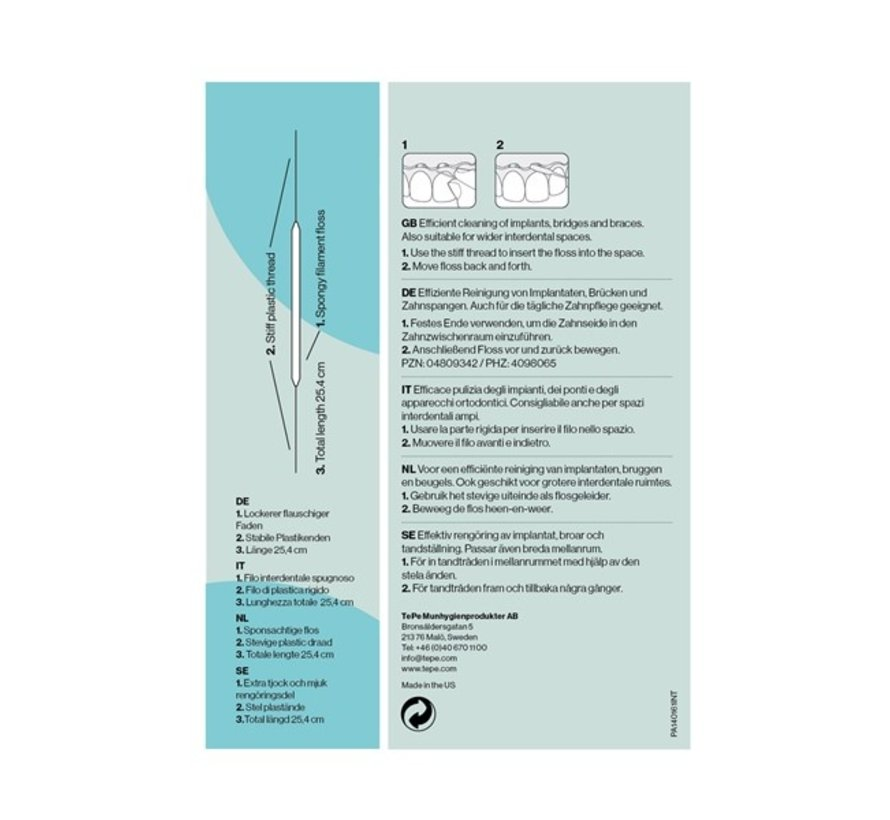 Tepe Floss Bridge & Implant - Flosapparaten - 3x 30 stuks - Wit