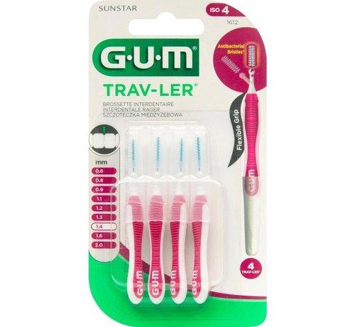 GUM 3x GUM Trav-Ler Ragers Aubergine 1.4mm blister à 4 stuks