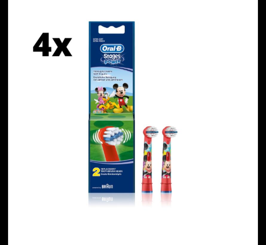 Oral-B Stages Power Kids Opzetborstels - Mickey Mouse - 4 x 2 stuks - Voordeelverpakking
