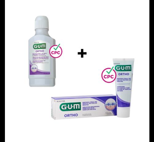 GUM GUM Ortho Voordeelpakket - Tandpasta + Mondspoelmiddel