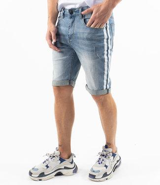Zumo Jeans STEVE-SHORTS-DAMAGED-SIDE-STRIPE DenimLight