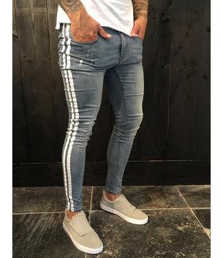 Zumo Jeans STEVE-DAMAGED-SIDE-STRIPE DenimLight