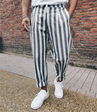 Monavoid Pants TRESA-Linen-Stripe WhiteBlack