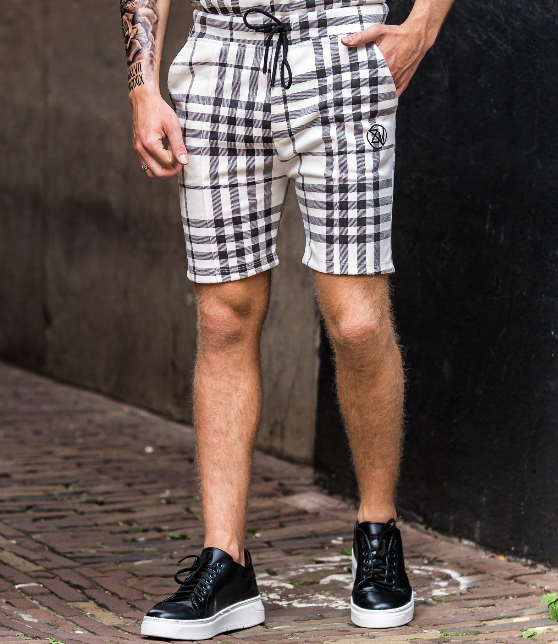 Zumo Slim Fit Shorts CELSO-SUEDINE-CHECK CreamBlack