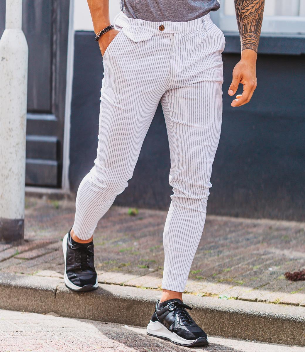 Zumo Slim Fit Pants VALERIO-STRIPE Cream