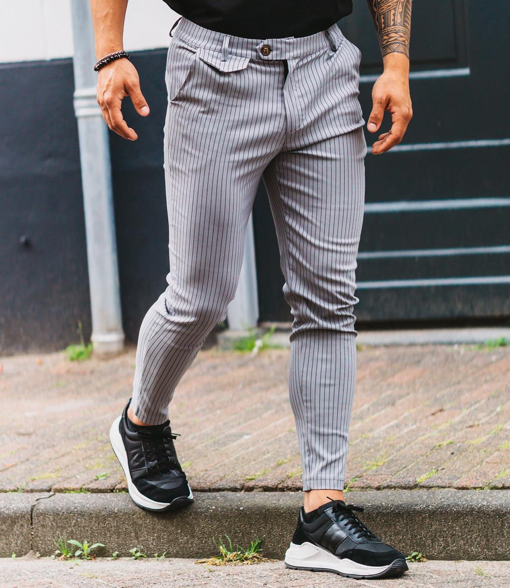 Zumo Slim Fit Pants VALERIO-STRIPE Grey