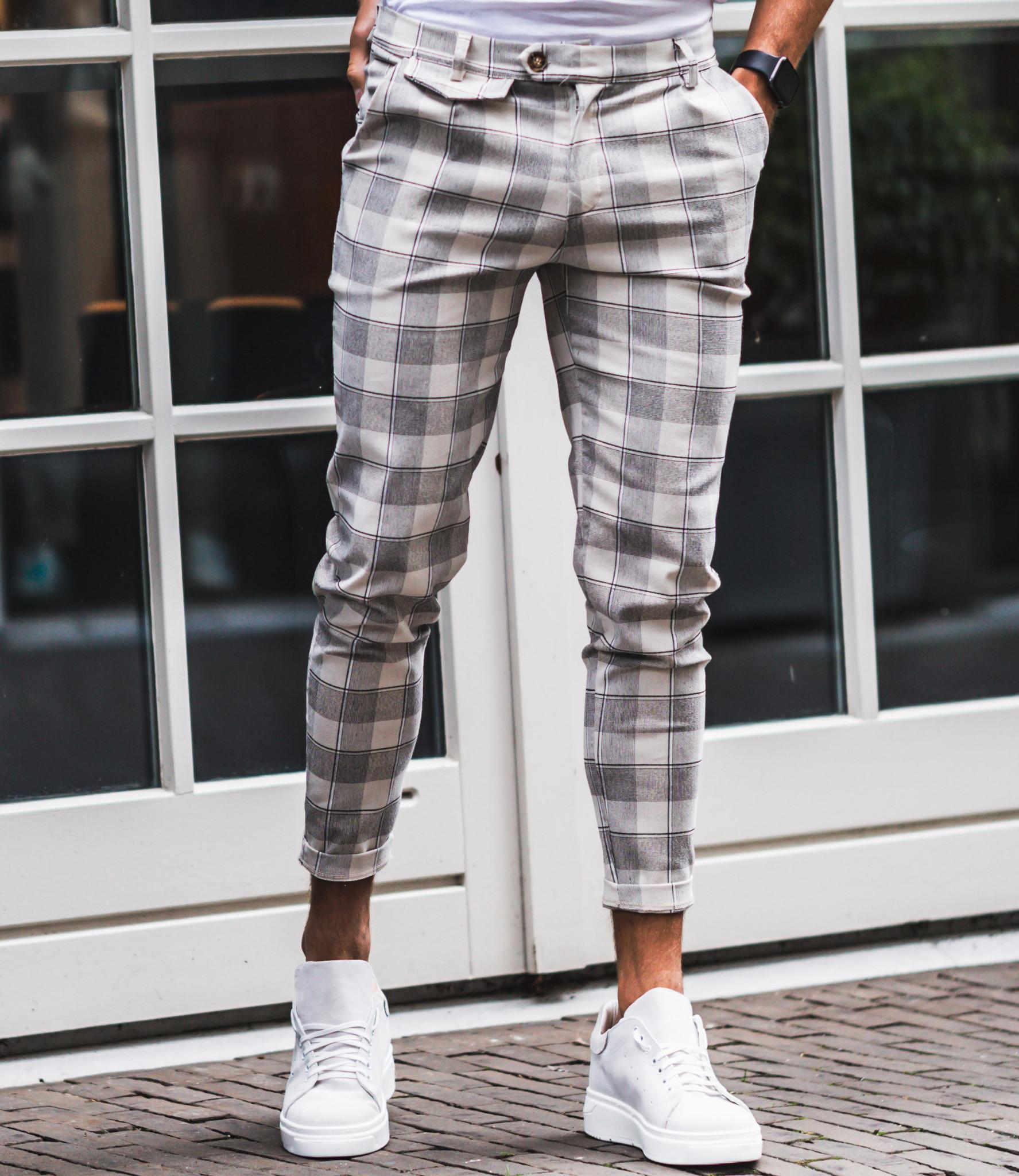 Zumo Slim Fit Pants VALERIO-CHECK CreamGrey