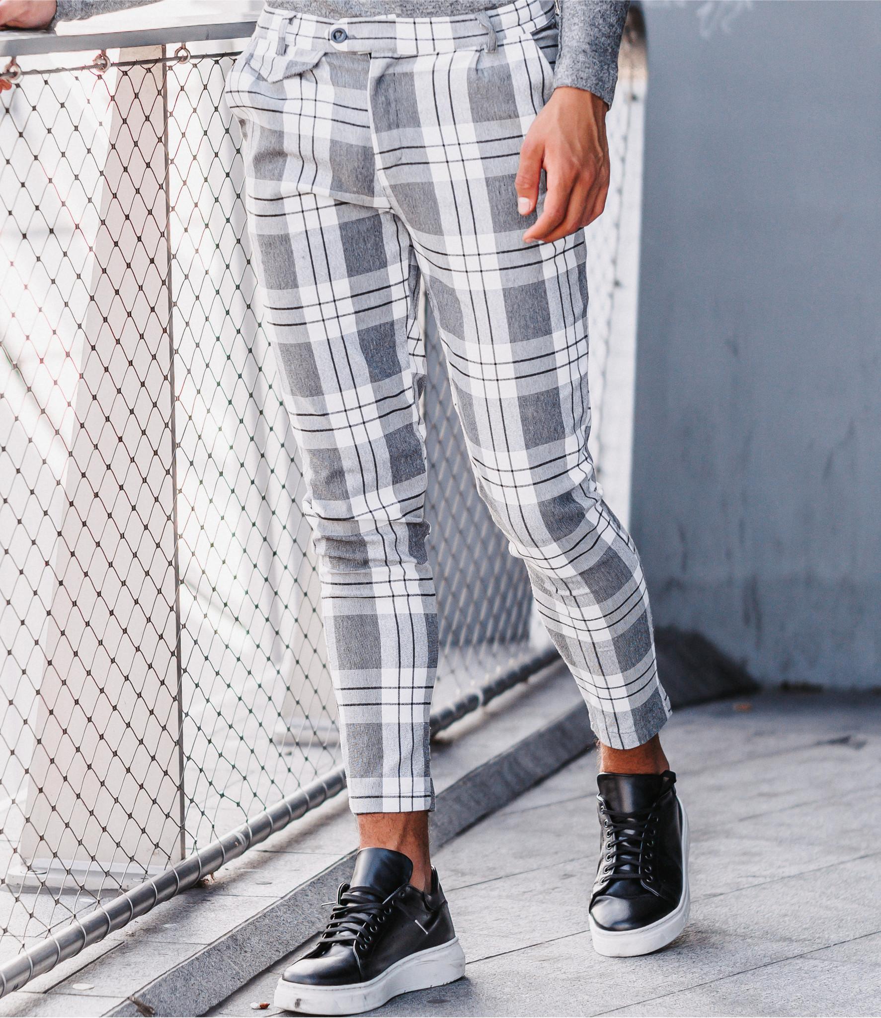 Zumo Slim Fit Pants VALERIO-CHECK-VAR3 White