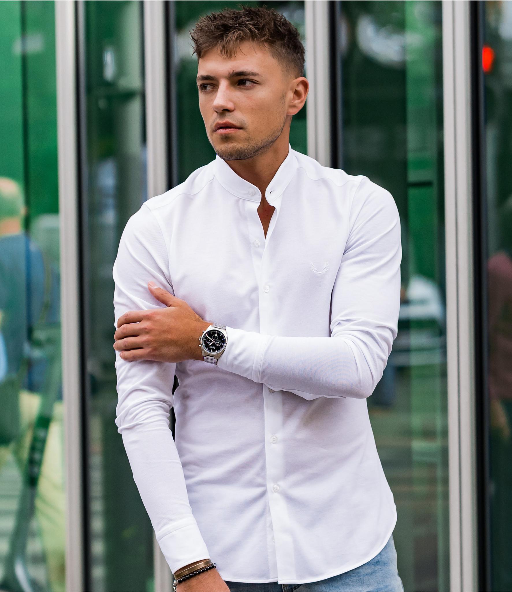 Zumo Slim Fit Shirts CLAPTON-PIQUE White