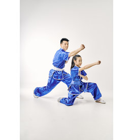 Shaolin Kung Fu Uniform - Blue Satinlook