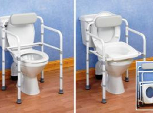 Toiletsteun met rugleuning uniframe, opvouwbaar