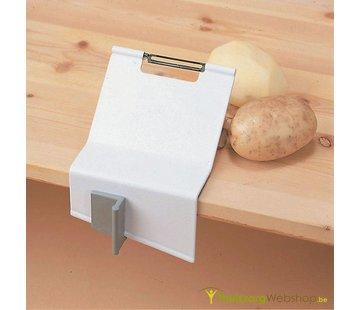 Dunschiller met klem aan tafel voor eenhandig gebruik