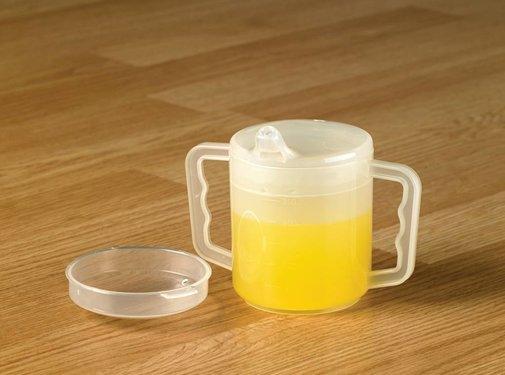 Beker met ml aanduiding 2 handvatten en 2 tuitjes