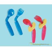 Gebogen lichtgewicht kinderbestek easi eaters (lepel+vork)