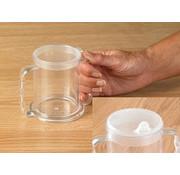 Transparante beker met 2 handvatten en 2 tuitjes