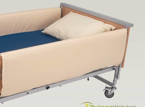 Bekleding voor bedsponde volle lengte, beige vinyl