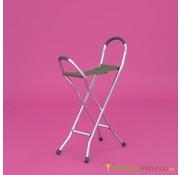 Wandelstokstoeltje in aluminium met stoffen zitting