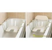 In breedte verstelbare hangende badzit met uitsparing