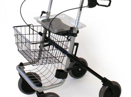 Plooibare rollator met 4 wielen met zitje in grijs
