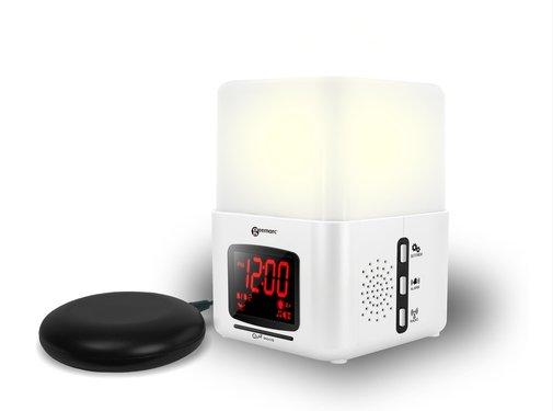 Geemarc Wake 'n Shake Light Wekker Curve met Trilkussen en Lamp