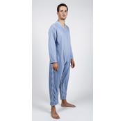 Verpleegpyjama met benen- en zijrits - staalblauw