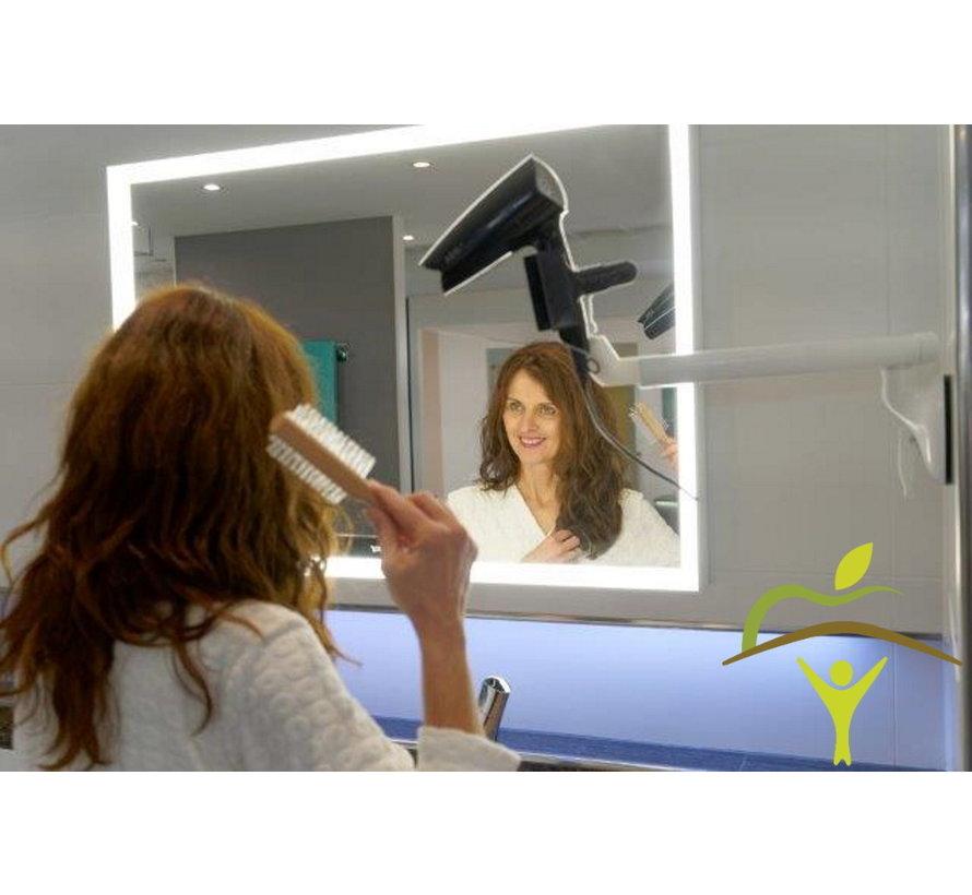 Haardrogerhouder met klem, op zuignap Mobeli® met veiligheidsindicator met zwenkarm